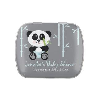 Faveur en bambou bleue de baby shower de panda boite de bonbons jelly belly
