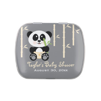 Faveur en bambou jaune de baby shower de panda boite à bonbons