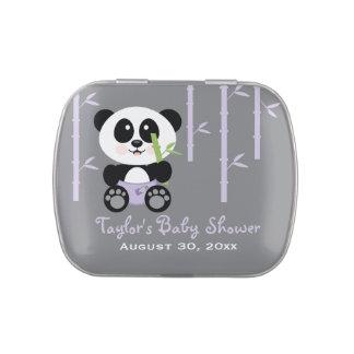 Faveur en bambou pourpre de baby shower de panda boites jelly belly