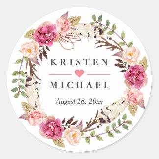Faveur florale de mariage de guirlande de plume sticker rond