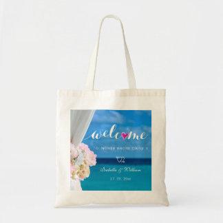 Faveur florale élégante d'accueil de mariage de sacs en toile