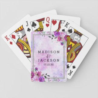 Faveur florale et argentée pourpre chic de mariage cartes à jouer