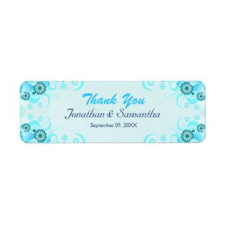 Faveur florale turquoise bleue de mariage d'Aqua Étiquette D'adresse Retour