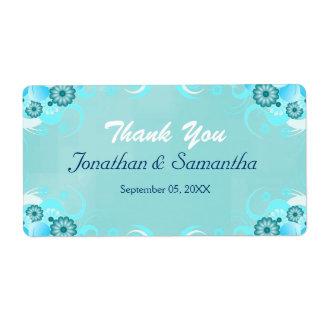 Faveur florale turquoise bleue de mariage d'Aqua Étiquette D'expédition
