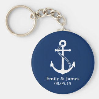 Faveur nautique de mariage d'ancre de bleu marine porte-clé rond