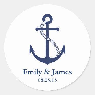 Faveur nautique de mariage d'ancre de bleu marine sticker rond
