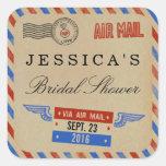 Faveur nuptiale de douche de par avion vintage sticker carré