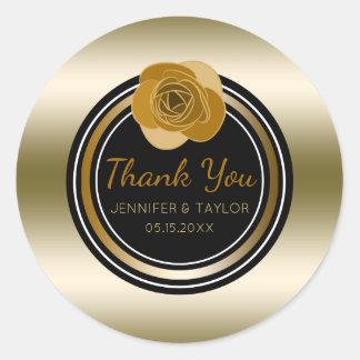 Faveur rose de Merci de mariage fascinant d'or Sticker Rond