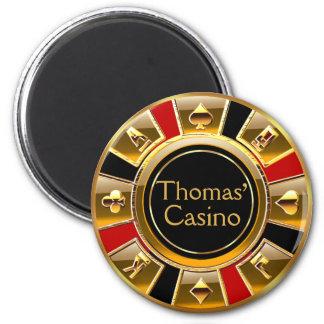 Faveur rouge de puce de casino de noir d'or de Las Magnet Rond 8 Cm