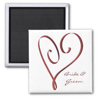Faveur rouge stylisée de mariage de coeur de magnet carré