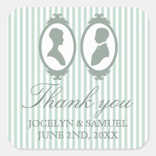 Faveur vintage de mariage de silhouette sticker carré
