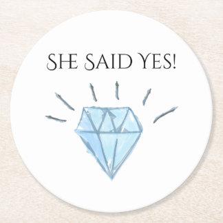 Faveurs de diamant - Merci Dessous-de-verre Rond En Papier