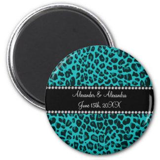 Faveurs de mariage de motif de léopard de turquois magnet rond 8 cm