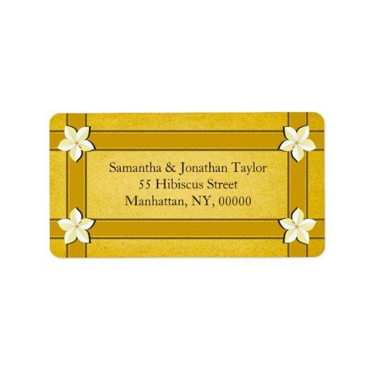 Faveurs florales d'or rustique ou étiquettes de