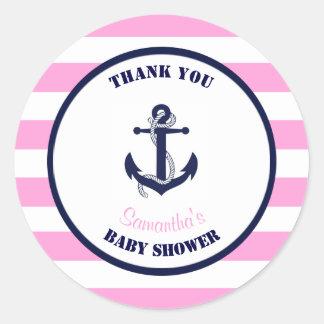 Faveurs nautiques roses de Merci de baby shower de Sticker Rond