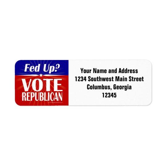 Fed ? Républicain de vote Étiquettes D'adresse Retour