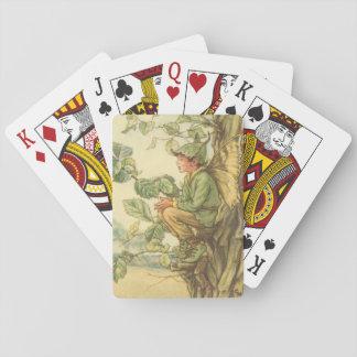 Fée à ailes d'orme s'asseyant dans un arbre cartes à jouer