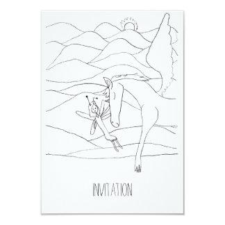 Fée avec le dessin au crayon magique de licorne carton d'invitation 8,89 cm x 12,70 cm