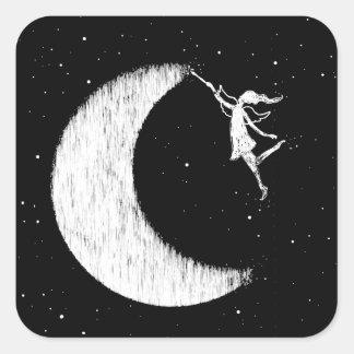 Fée d'art : Peignez la lune Sticker Carré