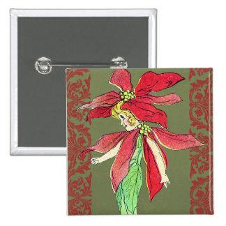 Fée de fleur de poinsettia badges avec agrafe