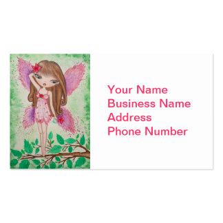 "Fée ""de fleur rose"" carte de visite standard"
