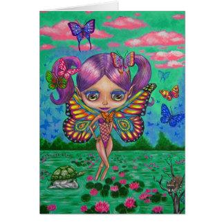 Fée de papillon de la carte de nénuphars