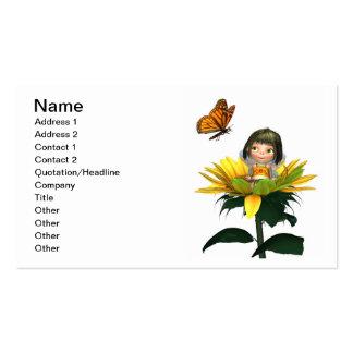 Fée de tournesol de bébé avec le papillon carte de visite standard