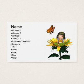 Fée de tournesol de bébé avec le papillon cartes de visite