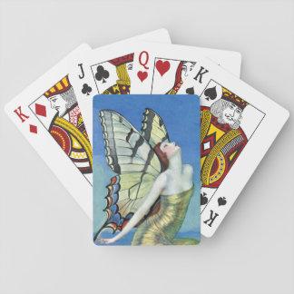 Fée rouge de cru de cheveux de papillon de jeux de cartes