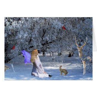 Féerie de solstice d'hiver avec des animaux dans cartes