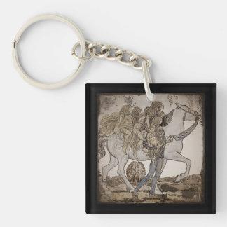 Féeries à cheval porte-clé carré en acrylique une face
