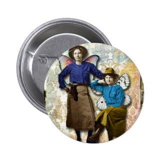 Fées de cow-girl, cow-girls changées de cru d'art pin's avec agrafe