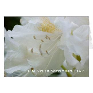 Félicitation l'épousant blanche du rhododendron | carte de vœux
