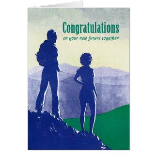 Félicitation-Mariage-Fiançailles-Déplacement Carte De Vœux
