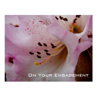 Félicitation rose de fiançailles du rhododendron | cartes postales