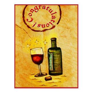 Félicitations ! carte de vin cartes postales