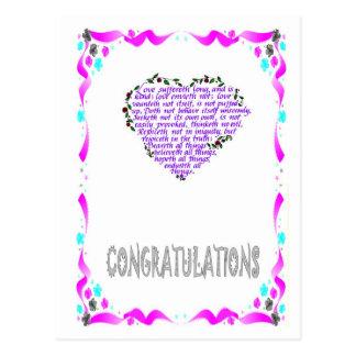 Félicitations - coeur 2 carte postale