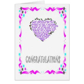Félicitations, coeur carte de vœux