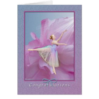 Félicitations, considérant de danse, ballerine carte de vœux