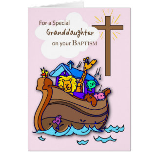 Félicitations de baptême de Grandaughter, arche de Cartes