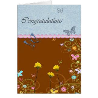 Félicitations de fleur de papillon carte