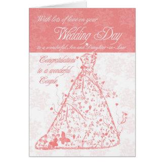 Félicitations de jour du mariage de fils et de carte de vœux