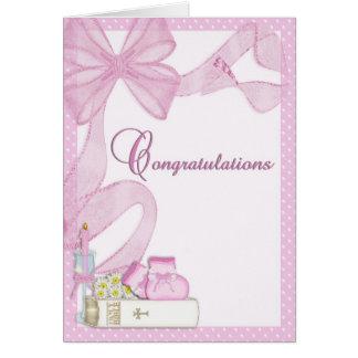 Félicitations de rose de baptême de baptême cartes de vœux