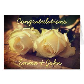 Félicitations épousant des roses personnalisés carte de vœux