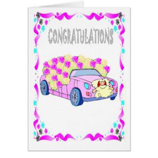 Félicitations épousant la voiture cartes de vœux
