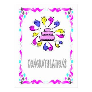 Félicitations - exclamations de gâteau de mariage cartes postales