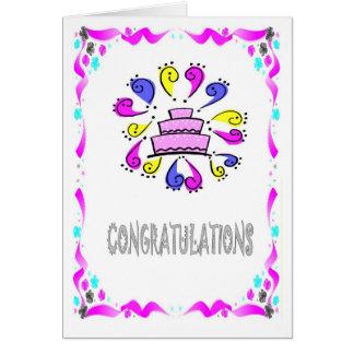 Félicitations exclamtons de gâteau de mariage carte de vœux