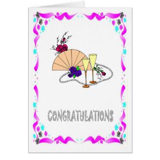 Félicitations, fan et verres carte de vœux