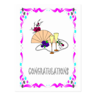 Félicitations - fan, verres carte postale