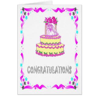 Félicitations, gâteau de mariage carte de vœux